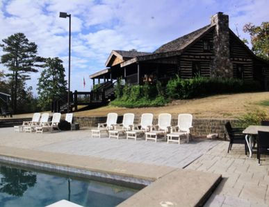 The Bear Cabin and pool deck from the deep end.