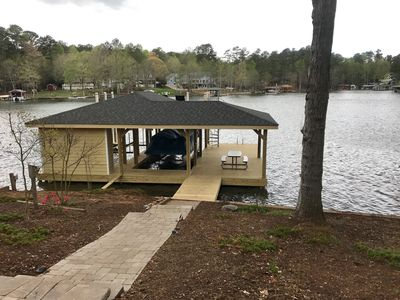 LAKE HOUSE AND PONTOON BOAT IN BEAUTIFUL POE CREEK COVE AT LAKE GASTON -  Littleton