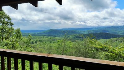 Photo for 5 Star Rated Cozy Hot Tub Loft Cabin Breathtaking Smoky Mountain View