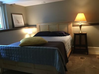 Bedroom has a Queen-size hand-made pine bed and a high quality memory foam mattress.