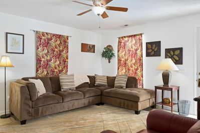 The living room is comfortable and spacious enough to stretch out and relax.