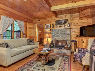 Photo for NEW LISTING! Cabin w/2 fireplaces & shared game room/screened porch-near pond