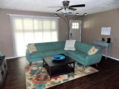 Living room with sectional seating