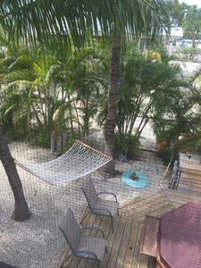 looking down from our balcony - the hammock is calling your name!