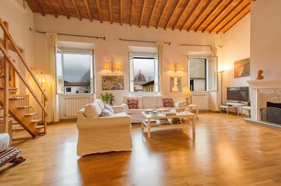 the panoramic  living room during a raining day