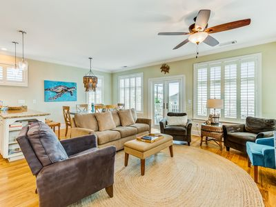 Photo for Stunning home w/ panoramic views, private dock - walk to the beach!