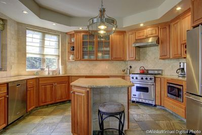 Large kitchen with Viking stove