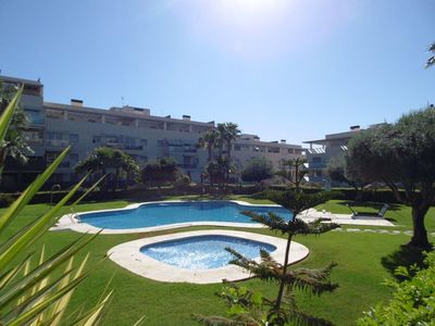 Photo for Air-Conditioned Apartment with Large Terrace, Pools, Garden & Wi-Fi; Parking Available