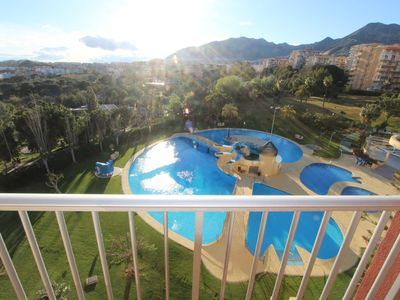 Photo for BEAUTIFUL VIEWS, POOLS WITH TOBOGANS, SMART TV, AC AND WIFI. 400M FROM THE BEACH.