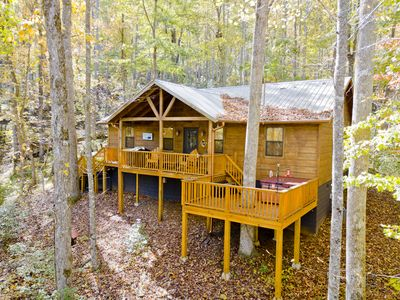 Photo for Beautiful 2 bedroom cabin with Hot Tub and private location close to Helen