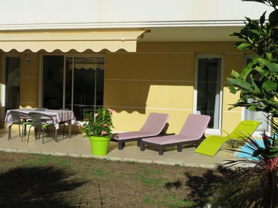 Photo for Near Juan Les Pins 3 rooms WI-FI, air conditioning, parking, residence with pool