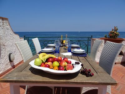 Photo for Villa luxurious on the seaside on two floors with ample terrace 12/14 beds