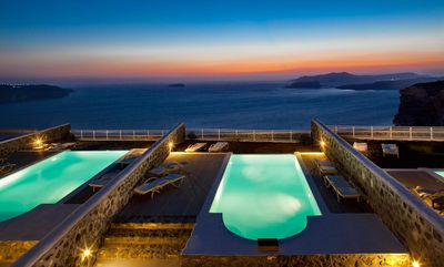 Photo for Executive 3 Bedroom Villa Raina a Santorinian luxury house. Majestically appointed with unobstructed views of the Sunset and Caldera