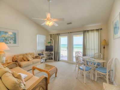 Photo for Picturesque gulf-front condo on 30A! Steps to beach! Charcoal grills on-site! Washer/dryer in-unit!