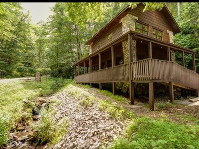 Photo for Running Branch Lodge (cabin) Nantahala,rafting,zipline,Wifi, dtv, firepit,stream