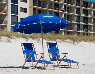 Complimentary beach chairs and umbrellas from March through October