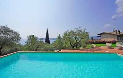 Photo for Splendid Villa with new POOL, large fenced garden, panoramic lake view, in Salò