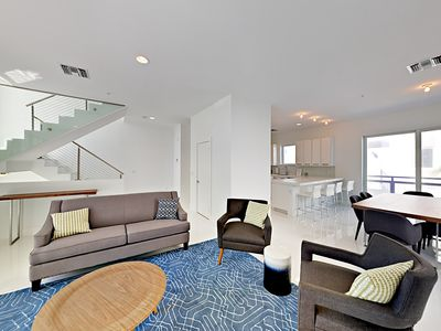 Photo for Sleek 4BR Townhome w/ Hot Tub, Pool & Gourmet Kitchen, Across Street to Beach