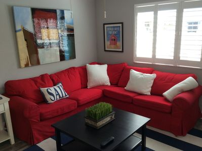 Sit and relax in the comfortably furnished living room area.