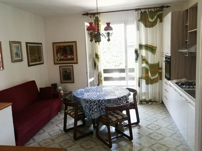 Photo for three-room apartment with two bathrooms and large garden in a villa
