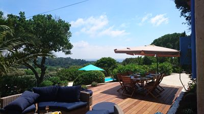 Photo for Charming house overlooking the sea and vineyards heated swimming pool 10 minutes from the sea