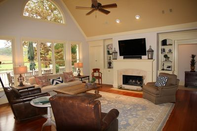 Family Room with Vaulted Ceiling plus Lake and Golf View