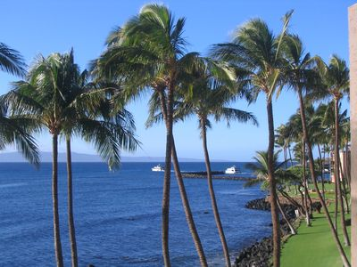 Small harbor in the distance visible from lanai.