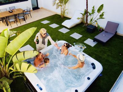 Photo for Design home with private hot tub in between mountain & ocean, South Tenerife