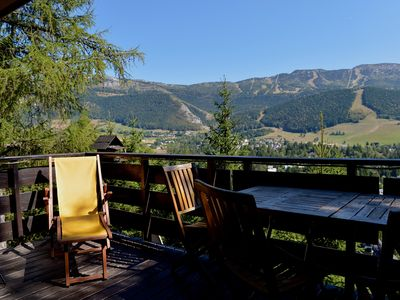 Photo for Adorable chalet perched in the forest with breathtaking views of the ski area.