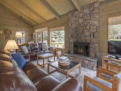 Photo for Gather Around the Gorgeous Stone Hearth in This Rustic Family Home on Sunriver Golf Course!