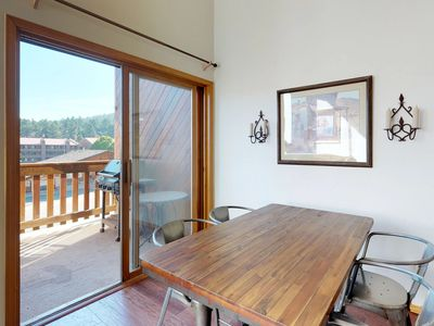 Photo for NEW LISTING! Lofty condo w/ deck, mountain views & jetted tub - 300 feet to lift