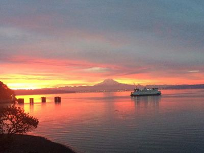 Photo for Stunning views of Sound & Mt Rainier, feet from beach large private lot w/stream