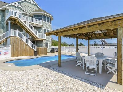 Photo for 360 degree views of  ocean and sound. Private Salt Water Heated pool with cabana, hot tub, gameroom!