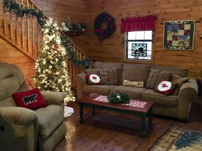 Photo for Beautifully decorated log cabin, 2 bdrms with king & 2 private baths, gas fireplace & more
