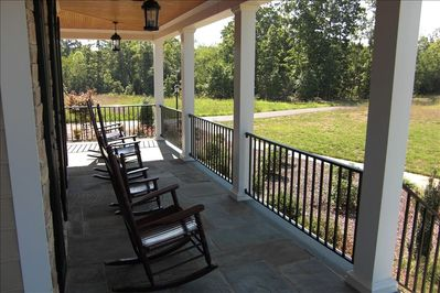 North Carolina Blue Stone Front Porch with Rocking Chairs
