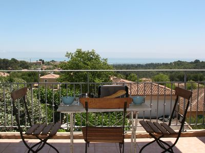 Photo for 1bedroom flat with terrasse and panoramic sea view over la Baie des Anges