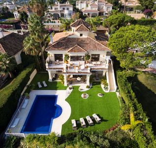 aerial shot of the villa.