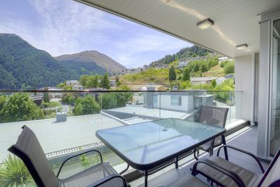 Private balcony with views of Queenstown Bay, Lake Wakatipu and Skyline