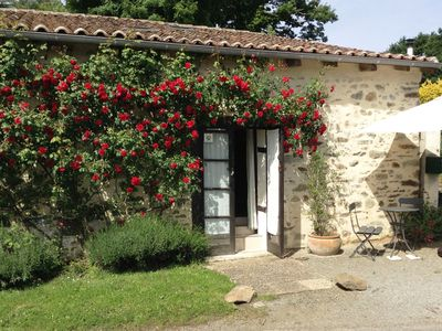 Photo for The Rose Barn - La Grange aux Roses. Charente Holiday Cottage for 2 with Pool.