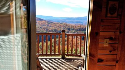 Photo for Gorgeous Smoky Mt views, Theater Room,  5 mins from Dollywood, all wood cabin