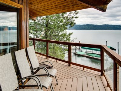 Photo for Unique home w/ stunning lakefront views, a wrap-around deck & a private dock!