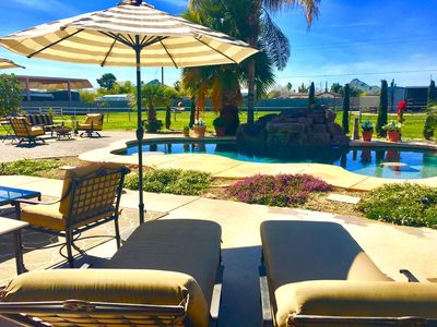 Photo for 1 Acre Paradise!, Heated Pool, 4BR/2BA, 2 Fire pits, Sleeps 8, Min.s to Sctlds,
