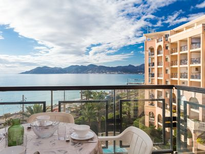 Photo for Superb sea view CANNES, two swimming pools, sandy beach 50m