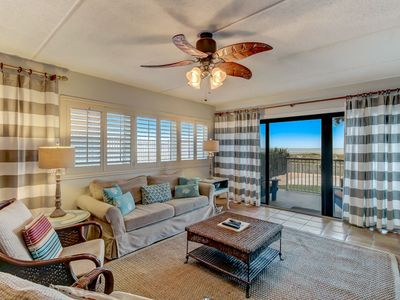 Photo for 1st Floor 2 Bed/2 Bath oceanfront condo sleeps 5. Tennis, W/D, pier, balcony & pool.