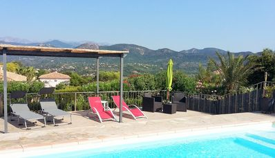 Photo for air-conditioned villa with sea view pool and mountains, T4 + T3 nearby beaches