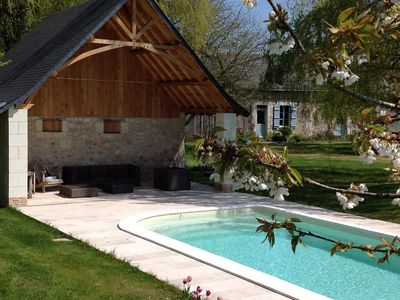 Photo for Authentic farmhouse in the countryside - calm - Heated swimming pool for exclusive use.