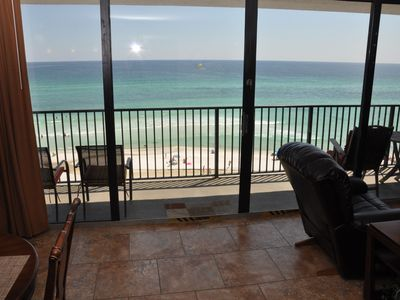 Photo for 2 Beach Chairs Included! 6th Fl. Gulf Front Condo! 60 ft of Glass! Dog Friendly