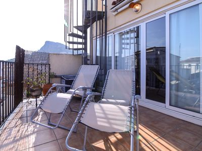 Photo for Penthouse with terrace overlooking the sea, in the center of Estartit, 2 min beach