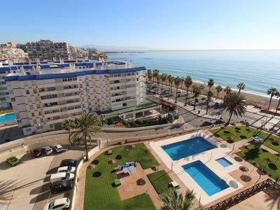 Photo for Beautiful Studio Apartment Directly on Beach with Balcony, Pools, Garden, Wi-Fi & Air Conditioning; Parking Available
