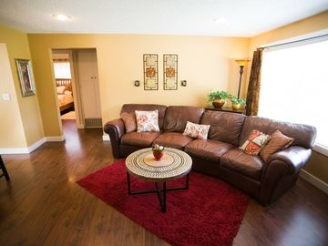 Two houses in one with BIG private yard  Near I-5, quiet & close to  everything!